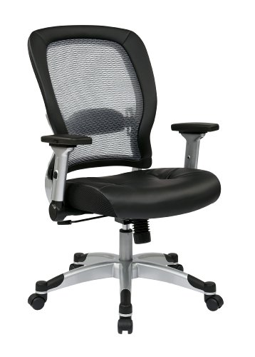SPACE Seating Light AirGrid Back and Eco Leather Seat, 2-to-1 Synchro Tilt Control, 4-Way Adjustable Flip Arms and Platinum Coated Nylon Base Managers Chair Eco Leather Managers Chair