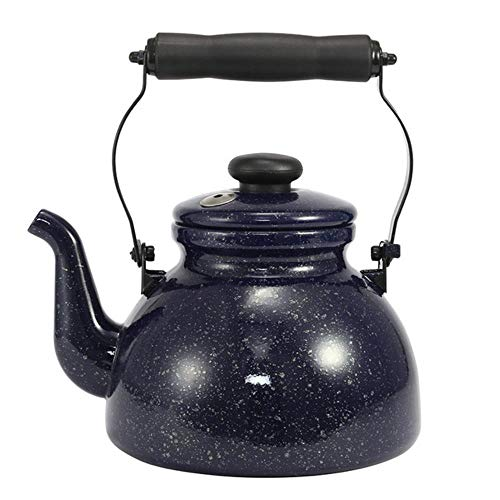 LLine Star Whistle Enamel Water Pot de Gran Capacidad se Puede Utilizar para hervidor de Llama Abierta, Azul Pavo Real, 2.5L