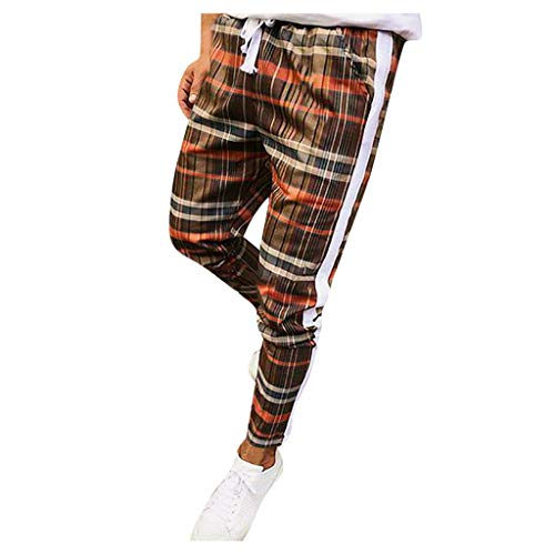 MINIKIMI geruite broek heren slim fit joggingbroek casual fitness trainingsbroek mannen business broek stretch sportbroek chino jogger broek met koord