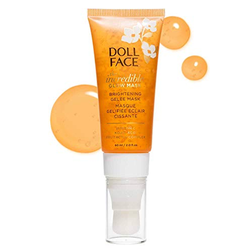 DOLL FACE Facial Mask | Glowing Skin with Vitamin C, Kojic Acid & FruitActive Complex | Glow & Brightening Face Masque with Brush-on Applicator | 2fl.oz