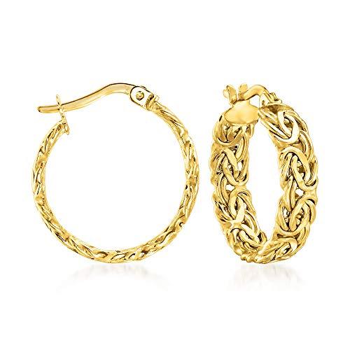 Ross-Simons 14kt Yellow Gold Byzantine Hoop Earrings