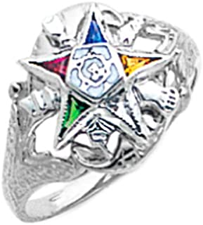 New Ladies 14k Gold Masonic Freemason Eastern Star Ring