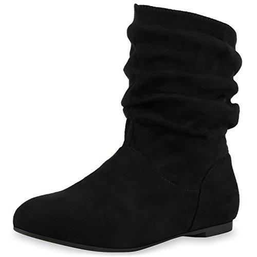 SCARPE VITA Damen Schlupfstiefel Leder-Optik Stiefeletten Bequeme Schuhe 148946 Schwarz Samtoptik 41