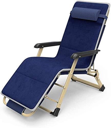 LZMXMYS Silla de salón al Aire Libre, sillas reclinables Plegable al Aire Libre Silla de salón de la Playa al Aire Libre del césped Camping Hamaca Jardín Azul Plegable portátil con la Almohadilla del