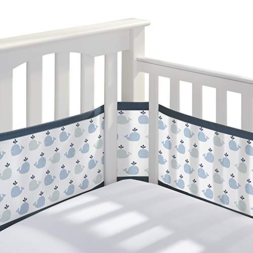 BreathableBaby Classic Breathable Mesh Crib Liner - Little Whale Navy