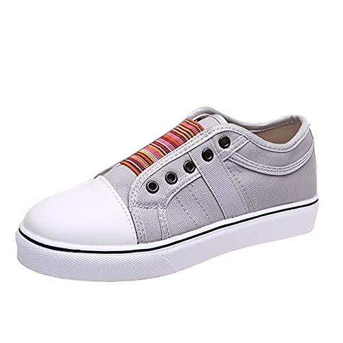 Shhyy Lona para Mujer Zapatillas De Deporte Zapatillas De Deporte Elásticas Cómodas De Moda Zapatos Planos Casuales De Caña Baja Pueden Combinar con Cualquier Estilo De Ropa,Gris,41