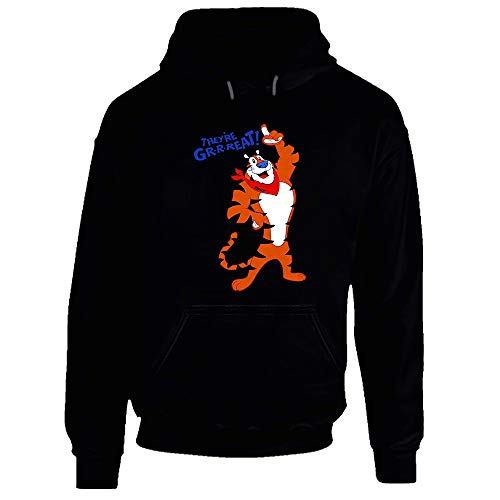 Tony The Tiger Theyre Great Retro Cereal Mascot Frosted Flakes Hoodie Black