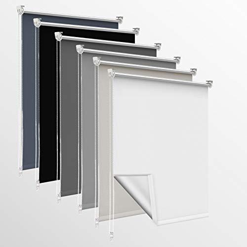 OUBO Verdunklungsrollo, Rollos für Fenster ohne Bohren & mit Bohren, (Weiß, B50cm x H140cm), Verdunkelungsrollo klemmfix Thermo Rollo, Fensterrollo innen lichtundurchlässig
