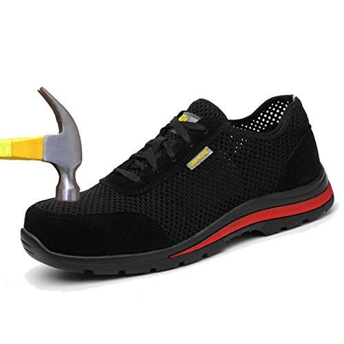 MJJ Zapatillas de Deporte Ocasionales Respirables de los Hombres de la Moda de Tenis atlético Ligero Zapatillas para Correr,Black,5