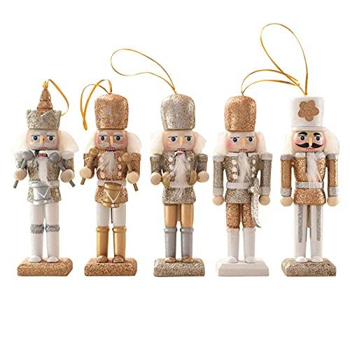 5 Stück Nussknacker Weihnachtsschmuck,12cm Nussknacker Soldat aus Holz,Puppet Ornaments Nussknacker Figur Geschenke Weihnachtsbaum Hängende Anhänger Nussknacker Figur Statuen