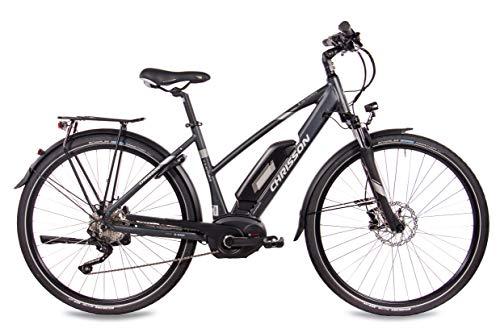 41Lijl1hsdL - CHRISSON 28 Zoll Damen Trekking- und City-E-Bike - E-Actourus anthrazit matt - Elektro Fahrrad Damen - 10 Gang Shimano Deore Schaltung - Pedelec mit Bosch Mittelmotor Performance Line 250W, 63Nm
