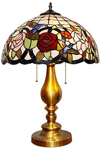 CWZY Lámpara de mesa para sala de estar dormitorio moderno lámpara de escritorio hecha a mano rosa flor patrón arte rural vidrieras clásico oro metal base noche noche luz