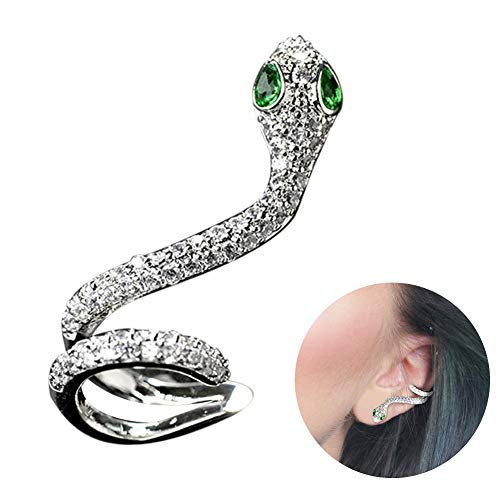 Earings for Womens Ladies Pierced Snake Cubic Zirconia CZ Cartilage Stud Left Ear Earrings Latest Stylish Novelty Gift for Girls