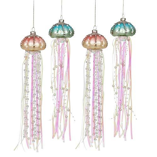 Mingfuxin Glass Jellyfish Christmas Ornaments 2021, Coastal Christmas Tree Decorations Set Glass Hanging Ornament Decor, 13-Inch Beach Xmas Tree Decorations, 4 Pack