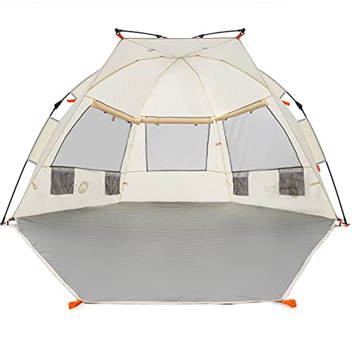 Easthills Outdoors Instant Shader Extended L Easy Up Beach Tent Sun Shelter for 2-4 Person - Extended Zippered Porch