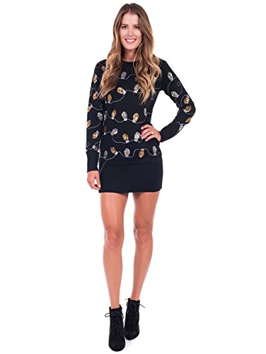 Tipsy Elves Women's Christmas Lights Ugly Sweater Dress - Black Tacky Sweater Dress: Large
