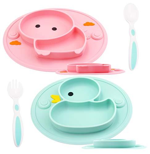 Baby Teller Schüssel Mini Silikon für Baby Kleinkinder und Kinder Tragbar Teller Baby Rutschfest Babyteller Tischset Abwaschbar für Spülmaschine, Mikrowelle (DuckC/PigP)
