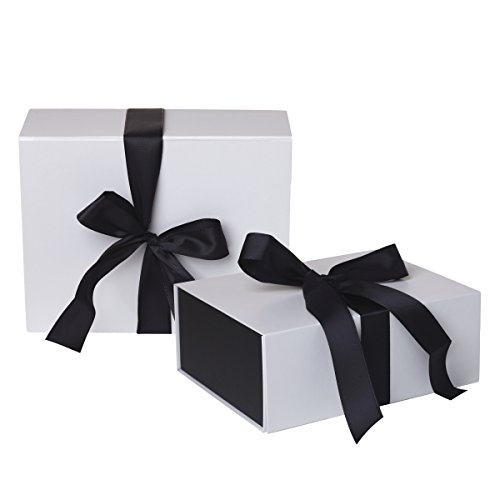 Jillson Roberts 2-Count Medium Ribbon-Tie Gift Boxes Available in 4 Colors, White Matte with Black Ribbon