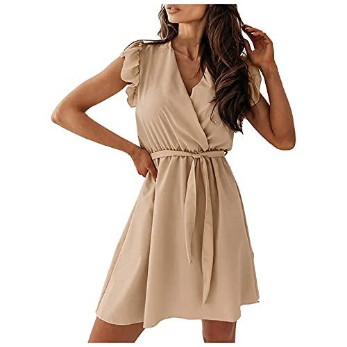 Liably Vestido de verano para mujer con volantes, cuello en V, de un solo color, corbata, de manga corta, elegante, de cintura alta, para fiestas, bailes caqui M