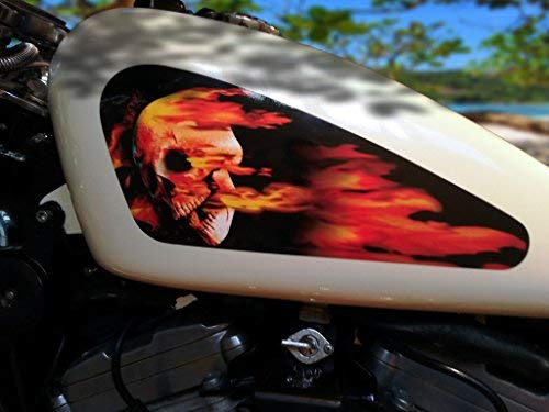 East Coast Vinyl Werkz Fuel Tank Decals for Harley Davidson Sportster - Flaming Skull (Easy to Apply kit)