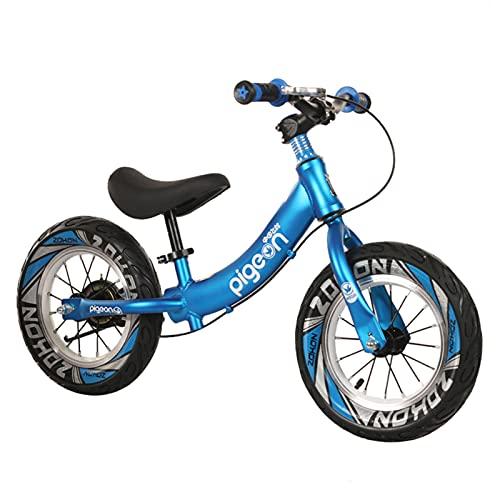 Bicicletas sin Pedales 12 Pulgadas Bicicleta de Equilibrio para 2 3 4 5 6 Años, Sin Pedal Bicicleta para Caminar con Freno y Barra y Asiento Ajustables, Estructura de Acero Al Carbono ( Color : Blue )