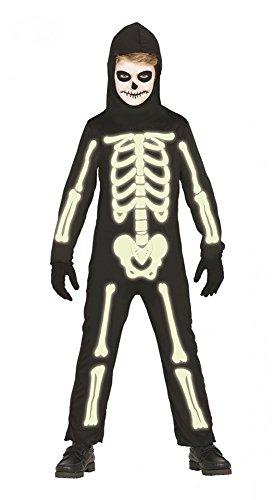 shoperama Halloween Overall Skelett Leuchtend Jungen Mädchen Kinder-Kostüm phosphoreszierend Knochen, Kindergröße:134 - 7 bis 9 Jahre
