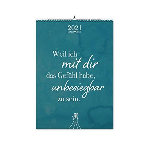 VISUAL STATEMENTS Wandkalender 2021; Kalender DIN A3; Bilder mit Sprüchen – verschiedene Bildmotive - Dekoration zum Aufhängen - Monats-Wandkalender (Liebe 2021)