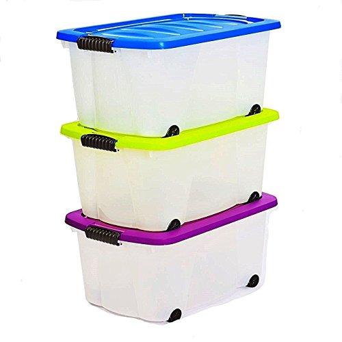 esto24 3er Set Aufbewahrungsbox mit Deckel und Rollen Größe: 45 Liter. in 3 Verschiedenen Farben. Ideal für Büro, Kinderzimmer, Küche & Werkstatt