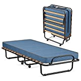 Giantex Folding Bed with Mattress, Rollaway Guest Bed W/ Foam Mattress, Sturdy Metal Frame, Portable Sleeper Bed Cot Size Easy to Store, Foldable Bed for Adults (Blue)