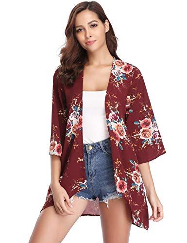 Aibrou Damen Sommer Boho Strand Kimono Florale Tops Cardigan Chiffon Shawl Bluse Beachwear Bikini Cover up Leichte Jacke Oberteil (Weinrot S)