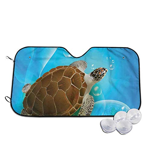 Windshield Sunshade for Car,Turtle Family Swimming In The Ocean Bubbles Underwater World Cartoon Fun Artwork,Front Window Sun Shade Visor Shield Cover,S