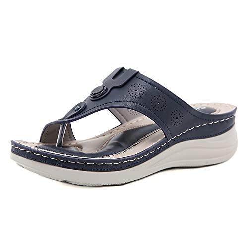 MIAOFA Sandalias para Mujer, Zapatillas ortopédicas de Cabeza Redonda para Mujer de Verano, Chanclas con Clip de tacón de cuña, Sandalias para Corregir la inflamación del Pulgar