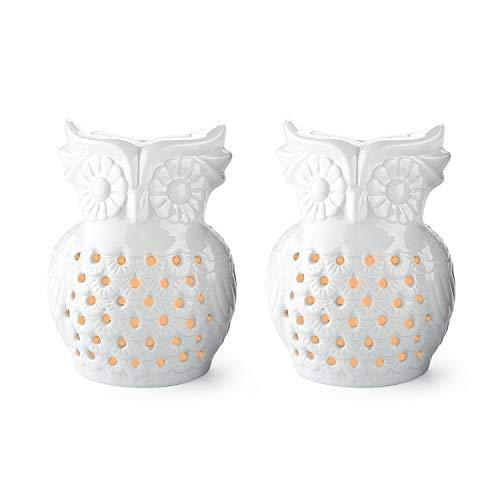 ComSaf uil keramiek geurlamp aromabrander met kandelaar Pack of 2 wit