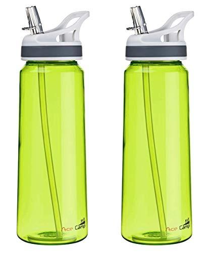 AceCamp Doppelpack TRITAN Trinkflasche | 2X Wasserflasche auslaufsicher BPA-Frei | Sportflasche Trinkhalm I 750 ml I Grün, 155559