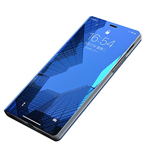 Custodia Huawei P20 Lite Cover Specchio Case Clear View Mirror Flip Custodia Case Huawei P20 Lite Folio Flip Stile Pelle Libro Fondina per Huawei P20 Pro/P20 Lite/P20 (Huawei P20 Lite, Blu)
