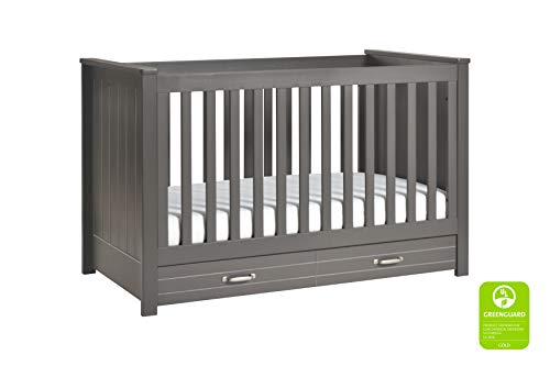 DaVinci Asher 3-in-1 Convertible Crib with Toddler Bed Conversion Kit in Slate | Greenguard Gold Certified