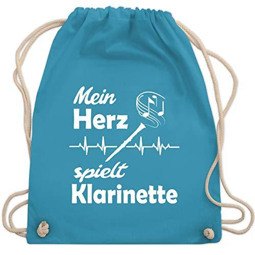 Shirtracer Instrumente - Mein Herz spielt Klarinette - Unisize - Hellblau - WM110_Stoffbeutel - WM110 - Turnbeutel und Stoffbeutel aus Baumwolle