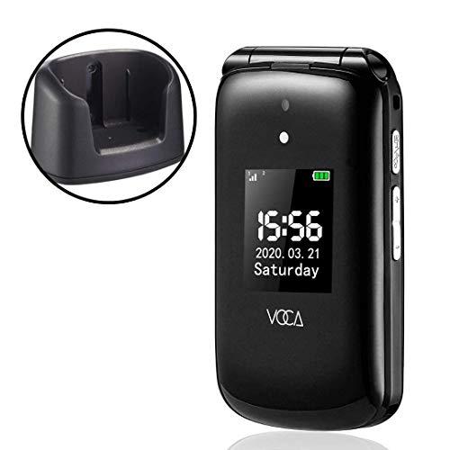VOCA V533 2.8' 3G Telefono Cellulare per Anziani con Tasti Grandi Clamshell Sbloccato SIM-Free Senior Flip cellulare, Funzione SOS nero