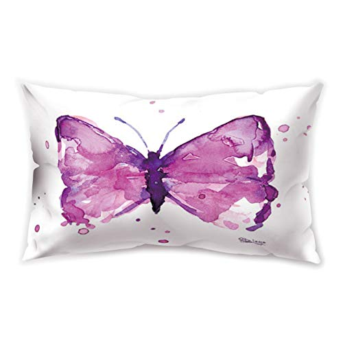 Hengjiang WEIANG White Rectangle Cushion Cover Specimen Insect Butterfly Printing Double-sided Soft Plush Pillowcase 30cm x 50cm(12IN x 20IN)
