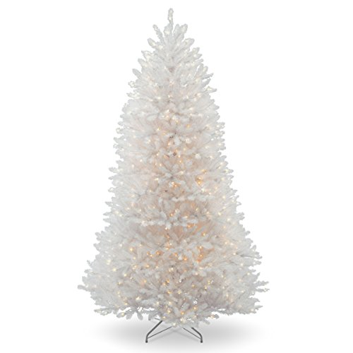 National Tree Company Pre-lit Artificial Christmas Tree | Includes Pre-strung White Lights and Stand | Dunhill White Fir - 7 ft