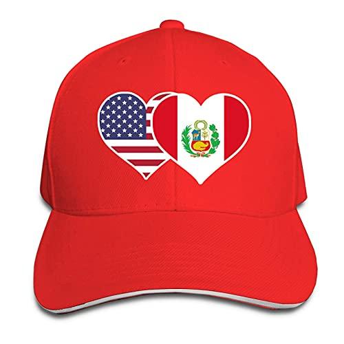 XCNGG Gorra para Hombres y Mujeres, Sombrero de Vaquero con Forma de sándwich de Pico Ajustable de corazón con Bandera de Perú Americano