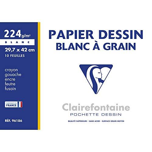 Clairefontaine 96186C - Une pochette Dessin à grain blanc 10 feuilles 29,7x42 cm 224g