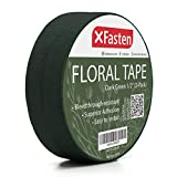 XFasten Wide Floral Tapes for Bouquet 1/2-Inch x 30 Yards - Dark Green (2-Pack) Bouquet Stem Wrap Tape for Florist – Waterproof Boutineer Tape for Flower Stem Wrap and Craft Adhesive