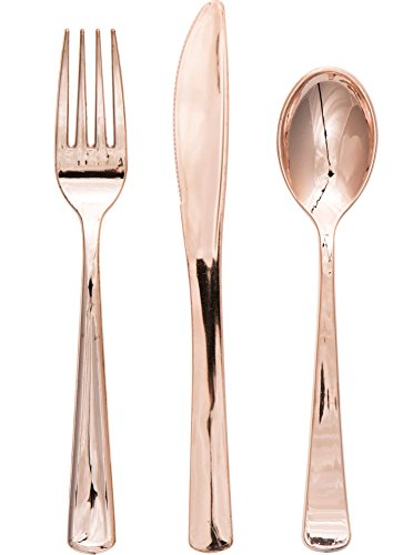 Creative Converting Hunter Green Knives-24 pcs. Assorted Plastic Cutlery Set, Rose Gold