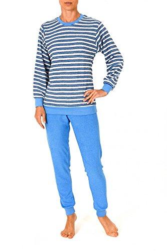 Unbekannt Damen Frottee Pyjama lang mit Bündchen - Geringelt - Rundhals 53210, Größe2:40/42, Farbe:hellblau