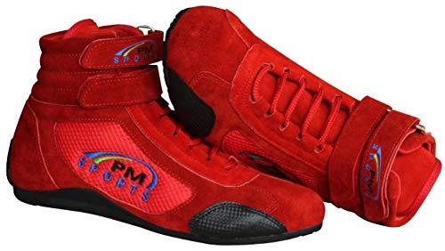 PM Sports Botas Rojas de Karting para Adultos Botas de Rally Race con Suela de Goma Antideslizante de Gamuza y Malla, Suela Resistente al Aceite y Resistente al Combustible (43 EU, Rojo)