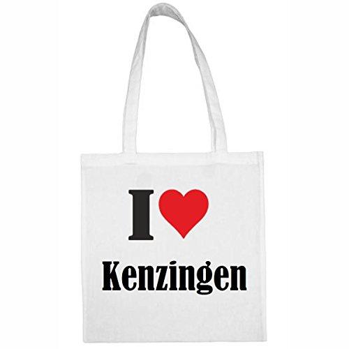 Reifen-Markt Tasche I Love Kenzingen Größe 38x42 Farbe Weiss Druck Schwarz