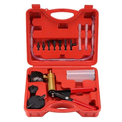 Vakuumpumpen-Kit, SUNJULY Vakuumpumpe Bremsenentlüfter Motorrad Vakuumtester Set Anzeige bis 760 mm Hg mit Koffer