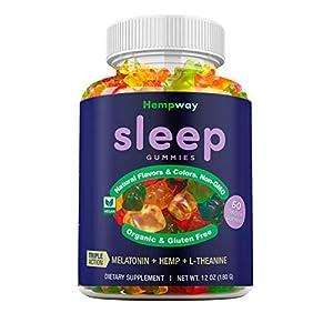 Hemp Sleep Gummies Triple Action | Promotes Healthy Sleep | Relaxes Body & Mind | Made in USA | 5mg Melatonin | 200mg Hemp | 10mg L-Theanine | 60 Organic Gummies