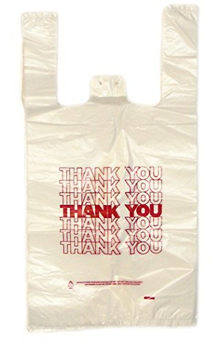 Plastic Carry Out Thank You Bags - 12'x7'x22' - White with Red Print 'Thank You' - 0.6 mil - 500 bags